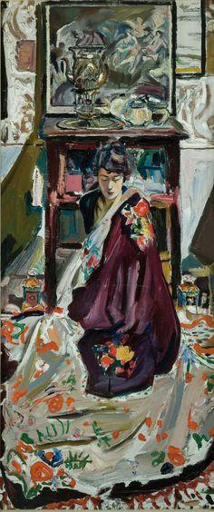 Mario Cavaglieri, Figura femminile in salotto, 1920, Piacenza, Galleria d'arte Moderna ricci Oddi