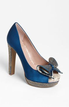 Blue Peep Toe Pumps