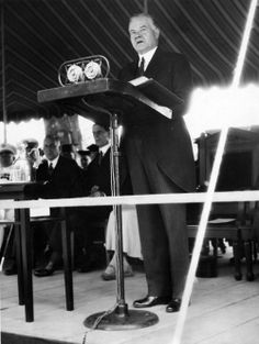 Herbert Hoover speaking during commencement exercises at Howard University. 6/10/1932.