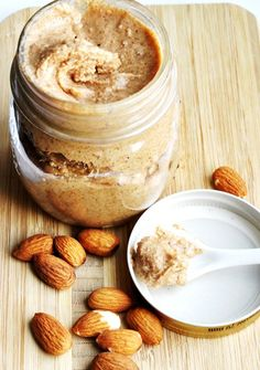 Made mine using my Ninja Kitchen System and raw almonds with 1tbsp of virgin coconut oil!  Stuff is delicious right out of the jar!