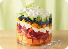 . summer fruits, trifl, dressing recipes, fruit bowls, fruit salads, food, lime, whipped cream, dessert
