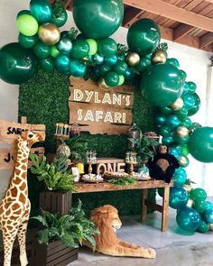 "Bizzie Bee Creations By Iris🐝 on Instagram: ""Safari First Birthday Candy Dessert Table by @bizziebeecreations Wood Sign by @wolfelaserengraving Decretive Cookies @normissweetestcookies…"""