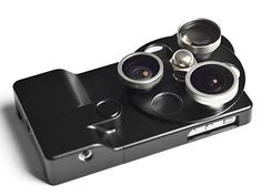 Aluminum iPhone 4S Case with Integrated Phone Lenses