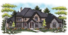 A gorgeous stone-and-brick facade are only the beginning of elegance in this stately, spacious luxury home.  House Plan # 221121.