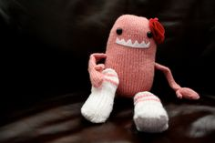 Handmade Knit Pink Sock Monster with Flower by TwistedBrassieres, $25.00
