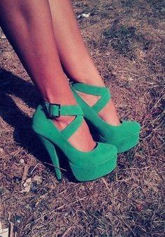 Green Cross Buckle Heels