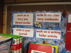 I love her Daily 5 Writing center!! Daily 5--Work on Writing - Second Story Window