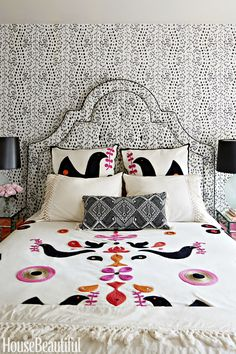 When your upholstered headboard matches your patterned wallpaper... new bohemian perfection!