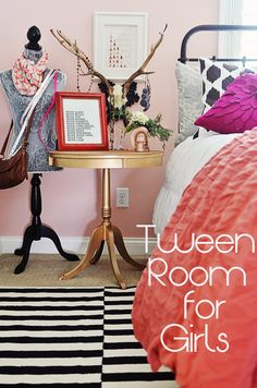 This is obviously for a tween girl, but I'm pinning it here for the black, white, gold, coral color scheme that I'm hoping to use in my master bedroom.