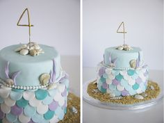 What a pretty mermaid birthday cake!  See more party ideas at CatchMyParty.com!
