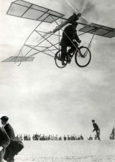 Life Magazine April 1st, 1933. (a false article about a flying bike designed by Peter Müller; photographer unknown)
