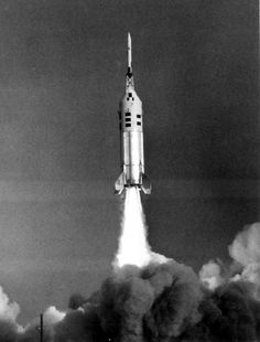 January 20, 1966: Apollo CM #002 launched atop a Little Joe II rocket (A-004) to test the Apollo Launch Escape System. | Photo credit: NASA | Source: Project Apollo Archive, scan by Ed Hengeveld rocket
