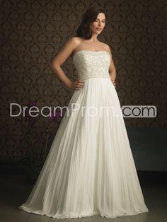 Glamorous A-line Strapless Floor-Length Court Ruffles & Appliques Plus Size Wedding Dresses