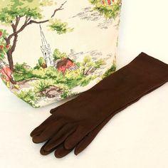 Vintage 1950s Gloves Long Chocolate Brown Medium to by Revvie1, $20.00