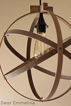 Hometalk :: Embroidery Hoop Pendant Light