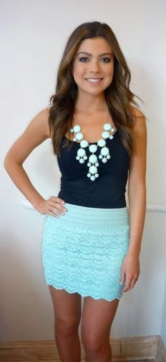 skirt, fashion, matching outfits, statement necklaces, color combos, mint, summer outfits, baby blues, bubble necklaces