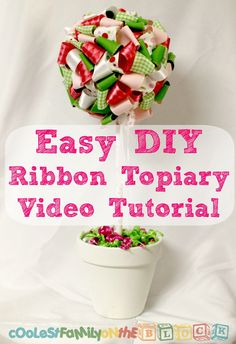 Easy DIY no-sew Ribbon Ball Video Tutorial.  This Ribbon Topiary Centerpiece is perfect for baby showers and birthday parties! #diy #crafts (from @coolfamilyblog)