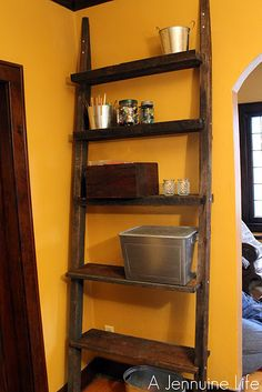 decor, laddershelf, craft, idea, jennuin life, reclaim wood, shelves, diy, ladder shelf
