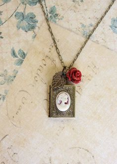 Book Locket Necklace Locket Pendant Rose Charm by apocketofposies