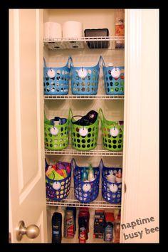Closet organization idea - labeled tubs