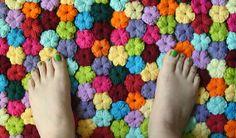 Crochet puff stitch flowers .....Handmade Crochet Rug Field of flowers by SpiralCrochet on Etsy