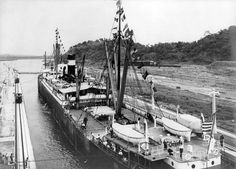 "Photo of the SS Ancon passing through the Panama Canal on 15 August 1914, the first ship to use the canal. Source: Library of Congress, Prints and Photographs division. Read more on the GenealogyBank blog: ""100th Anniversary of the Panama Canal: History in the News."" http://blog.genealogybank.com/100th-anniversary-of-the-panama-canal-history-in-the-news.html"