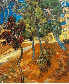 """""""Trees in the Asylum Garden"""", 1889, Vincent van Gogh."""