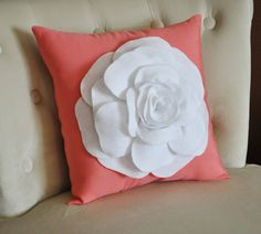 White Flower on Coral Pillow -Coral Pink- Red Orange Salmon Linen- Rose Pillow. $35.00, via Etsy.