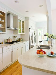 Galley kitchen ideas on pinterest galley kitchens for Galley kitchen with dining area