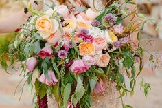 bohemian wedding bouquet, photo by The Melideos http://ruffledblog.com/leo-carrillo-ranch-wedding #weddingbouquet #flowers