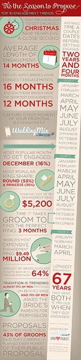 How trendy is your engagement? In the end it is not what matters, but these tidbits are fun to compare with your engagement. What a fun infographic from @WeddingMix.