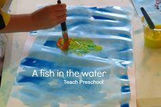 books, water activities, hand prints, preschool idea, teach art