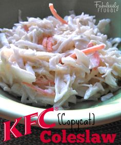 This delicious KFC Coleslaw Copycat Recipe is the perfect side dish for BBQ and easy enough to bring to pot lucks or picnics! side bbq dishes, easy side dishes for bbq, side dish for bbq, easy bbq sides, bbq side dish recipes, bbq side dishes, copycat recip, bbq sides easy