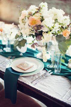 Stunning tablescape | Event Design  Florals: Rock Paper Scisscors Events - rpscissors.com | Photography: Peaches And Mint - www.peachesandmint.com  Read More: http://www.stylemepretty.com/2014/05/12/emerald-mint-peach-wedding-inspiration/