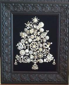 Vintage Jewelry Christmas Tree white on black