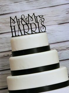"""Personalized Custom """"Mr and Mrs"""" Wedding Cake Topper ... Your new last name may be too long, but cute!"""