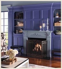 This #purple living room gives this home a bold, sophisticated look! #BEHRPAINT