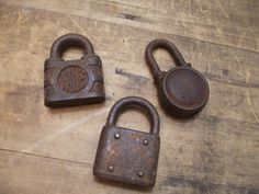 I love these old rusty Vintage pad Locks padlocks collection of 3 Lot 2  by RuffByMargo, $18.00
