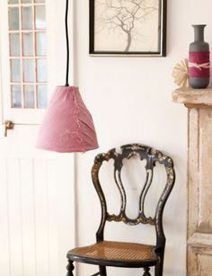 Sweet Paul covered this old metal lampshade with linen he hand-dyed with blueberries.