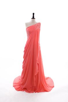 Chiffon One Shoulder Hand Beaded Floor Length Dress