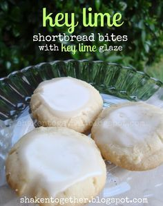 key lime shortbread bites with key lime glaze - Shaken Together