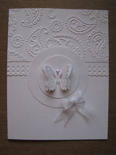 Butterfly Embossed All White Handmade Greeting Card