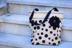 Polka Dot Burlap Tote Bag by BBELLECOUTURE on Etsy, $48.00