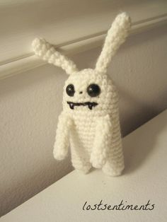 PATTERN for Vampire Bunny Amigurumi Plush Toy  by lostsentiments     See what inspired this work here: http://lostsentiments.blogspot.com/2013/07/when-i-am-sad-girl-and-her-pal-in.html