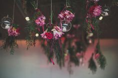 suspended centerpieces - photo by Ben Adams - http://ruffledblog.com/sydney-museum-of-contemporary-art-wedding/