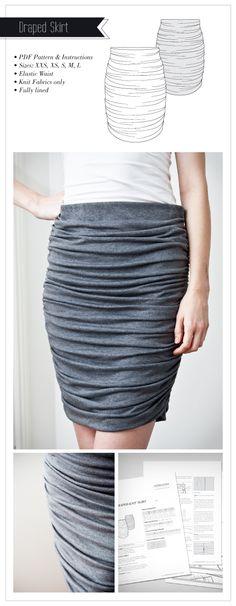 Draped Knit Skirt Pattern -Falda drapeada patrón