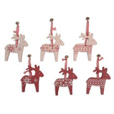 Set Of Six Hanging Wooden Painted Reindeer Christmas Tree Decorations £6.99