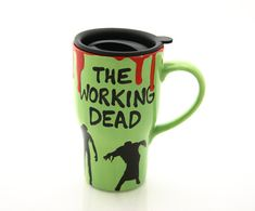 Great gift for a zombie lover or The Walking Dead fan--a ceramic travel mug that will help you face MOnday morning after watching television all Sunday