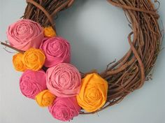 cute pink and orange wreath. Although... I'm a gamecock, I'm not allowed to like orange anymore.