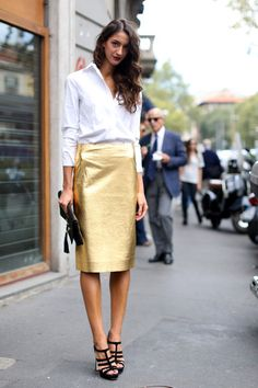 Gold Pencil Skirt holiday, fashion weeks, fashion models, leather skirts, white shirts, outfit, street styles, black heels, pencil skirts